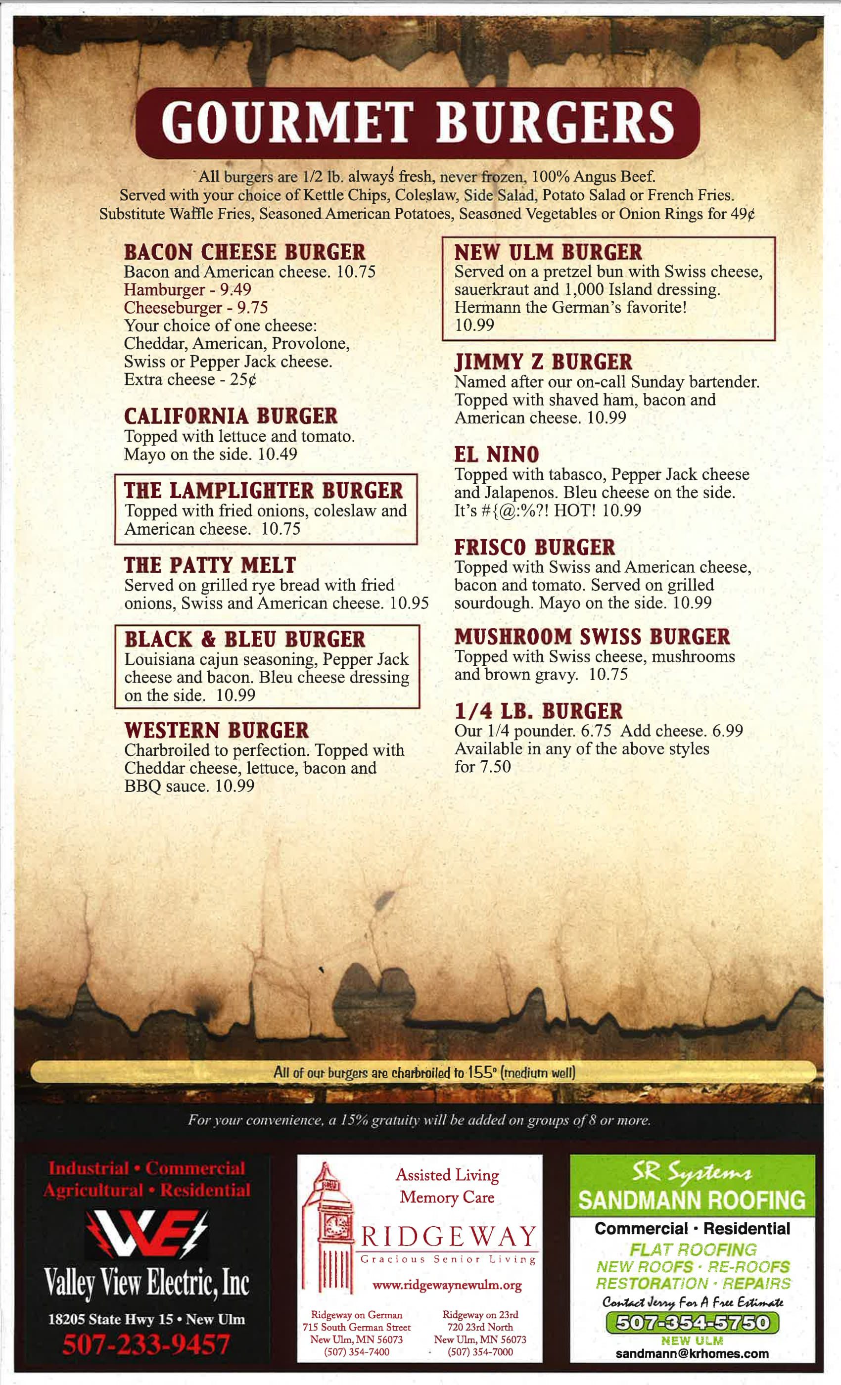 Lamplighter Family Sports Bar and Grill - Our Menu